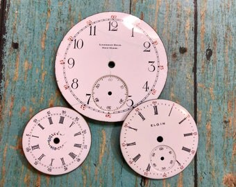 Vintage Porcelain POCKET Watch Faces (3) for Steampunk and Altered Art- Elgin- Black and White Numbers- Watch Dials- D13