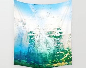 Photo Tapestry Blue Ocean grunge splatter abstract photography, photo backdrop, photo cloth, background art, portrait photography prop