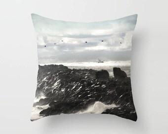 Ombre Sky Pillow, Pelican Pillow, Oregon Coast throw pillow, northwest landscape, decorative bedding, hotel bedding, square pillow, fishing