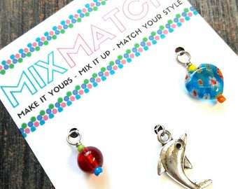 MIX MATCH - Charm Batch 6 - Transparent Red Glass Bead, Large Silver Dolphin Charm, Aqua Blue Millefiori Heart Charm