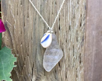 Clear Artifact Necklace with Light Blue Pottery