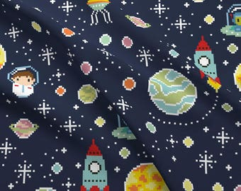 Pixelated fabric etsy for Space boy fabric