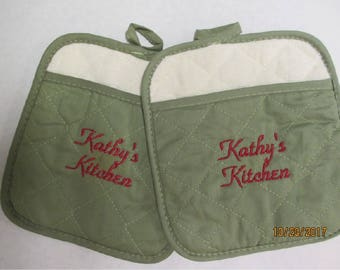 Set of two   PERSONALIZED Pot Holders