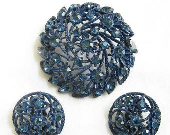 SALE Cobalt Blue Enamel and Rhinestone Brooch and Earrings Vintage Flower Set