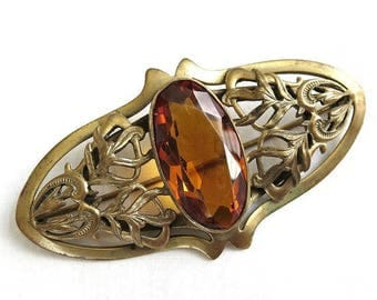 SALE Art Nouveau Topaz Cut Glass Brooch Large Vintage Antique