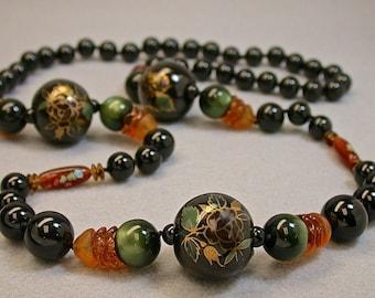 Vintage Black Onyx Bead Knotted Necklace, Vintage Chinese Porcelain,Vintage Green Moonglow,Vintage Japanese Millefiori Glass,German Glass