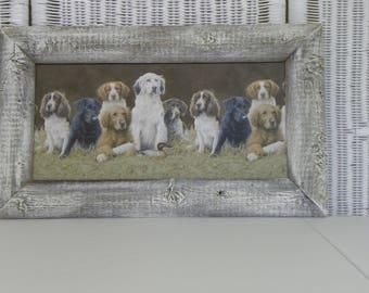 Rustic Primitive Barnwood Frame Reclaimed Wood Dog Print Wall Art Framed Picture
