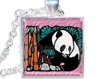 "20% OFF - Adorable Panda 1"" Square Glass Pendant or with Necklace - SQ150"