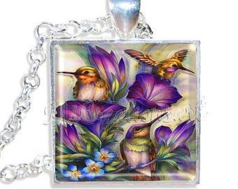 "20% OFF - Humming Birds 1"" Square Glass Pendant or with Necklace - SQ295"
