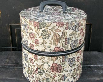 Vintage Wig Case | Hat Box | Retro Tapestry Floral | Round Suit Case with Zipper | Travel Case