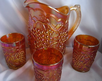 Imperial Harvest Grape Carnival glass Water set