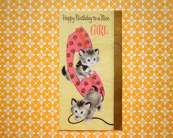 Vintage Birthday Greeting Card Cute Kittens with Pink Rotary Telephone