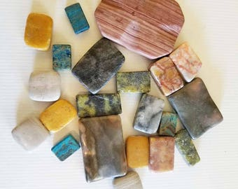 21 stone beads mixed lot gemstone beads stone pendants charms bulk beads rectangle square beads