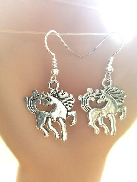 Unicorn horse earrings charm silver dangles handmade fantasy animal jewelry