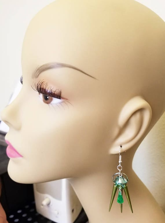 green flower bead drop earrings spike charms handmade plastic beaded jewelry
