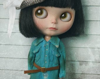 jiajiadoll - 2 pieces green blue vintage belt long shirts dress fit momoko misaki blythe azone middie lati imda