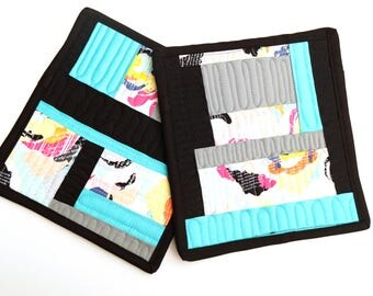 Modern Quilted Pot Holders Set of Two in Improvisational, Colorful Patchwork