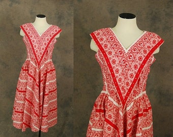 3 Day SALE vintage 50s Dress - 1950s Bandana Print Day Dress Red and White Square Dance Dress Sz M