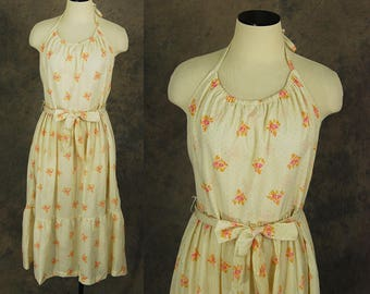 vintage 70s Backless Sun Dress - 1970s Floral Halter Dress Sundress Sz L