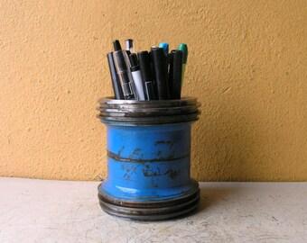 Pencil Holder Industrial Decor Minimalist Desk Storage Organizer Steampunk Office Salvaged Steel Pencil Cup Pen Stand Coworker Gift for Men