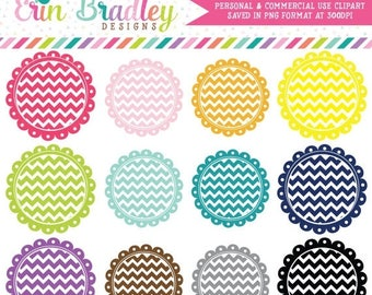 80% OFF SALE Scalloped Chevron Circles Clipart, Instant Download Clipart Frame Graphics, Personal & Commercial Label Clip Art