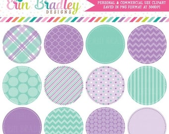 80% OFF SALE Purple and Aqua Blue Circle Frames Clipart Clip Art Commercial Use - Instant Download
