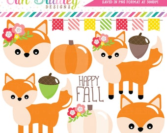 Fox Clipart Fall Clip Art Graphics with Fox Pumpkin Acorn and Bunting Clipart Commercial Use OK