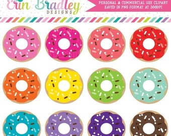 80% OFF SALE Food & Dessert Clipart Instant Download Donut Graphics Commercial Use OK