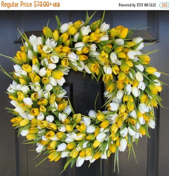 SUMMER WREATH SALE Spring Wreath- Tulip Spring Wreath- Summer Wreath- Spring Sunshine- Spring Yellow Tulips Decoration- Easter Wreath Spring