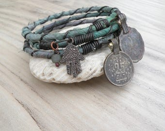 Silk Road 3 Piece Bangle Stack, Silk Wrapped, Stacking Bracelets, Tribal Gypsy Jewelry, Sage and Lavender