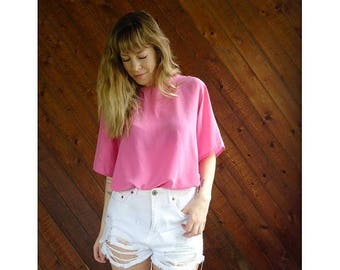 20% off SUMMER SALE. . . Hot Pink Silk s/s Oversized Blouse Tee - Vintage 90s - L