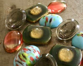 Vintage Glass and Lucite Cabochons Midcentury Funk Sky Lounge Assortment