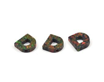 Opal D Letter - Snythetic Opal Initial Letter (10x9.50x2.50mm)