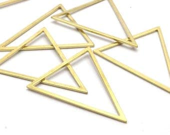 Brass Blank Triangles, 6 Raw Brass Triangles (39x39x31mm) Bs-1308