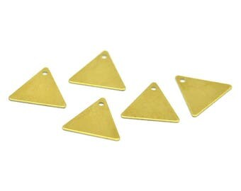 Tiny Brass Triangle, 250 Raw Brass Triangle Charms With 1 Hole (12x14mm) A0013