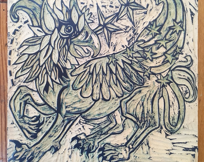 Griffin, mythic beast, carved, woodblock