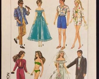 Vintage DOLL CLOTHES Sewing Pattern Barbie Ken Brooke Shields Fashion Dolls 6967