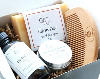 Gift for Him, Beard Kit, Beard Grooming Kit, Beard Oil, Beard Comb, Beard Shampoo, Beard Conditioner, Fathers Day Gift