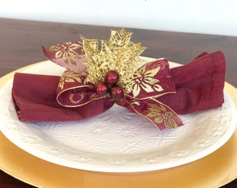 Napkin Rings with Red Sheer Ribbon, Gold Lace Holly Leaves and Red Berries - Christmas - Holidays