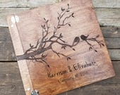 Alternative wedding guest book or guestbook, love birds wooden guest book, personalized guest book, photo guest book, advice for the bride