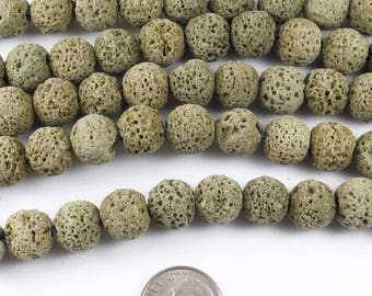 "Round Volcano Beads-Olive Green Lava Rock 15"" Strand 10mm (40)"