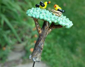 Miniature glass tree with bird nest and mother bird, fairy garden accessory, plant poker, terrarium decoration, made to order, customizable