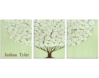 Boy Nursery Decor Wall Art, Large Custom Canvas Art with Name Inscription, Green Tree Painting Triptych - 50x20