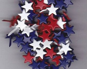 Patriotic Star Brads Red White Blue - 4th of July Americana Scrapbooking Paper Fasteners Large Size - 80 Pieces