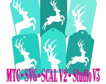 Set 03 Christmas Reindeer Gift Tag Set of 6 Cut Files SCAL MTC Silhouette SVG File Format