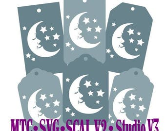 Moon & Stars Holiday Gift Tag Set of 6 Cut Files SCAL Silhouette MTC  SVG File Format