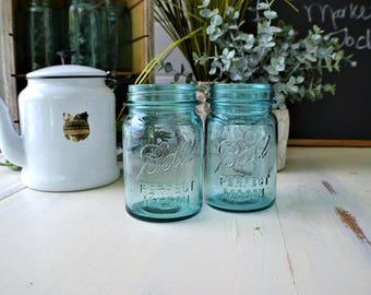 Mason Jars Anitque Blue Pint Size Ball Perfect Mason Jars -Farmhouse-Country Kitchen -Cottage Kitchen-2 Jars