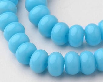 Rondelle Glass Bead Strand - Deep Sky Blue - Sold per strand - #GLAA-D079-6mm-11