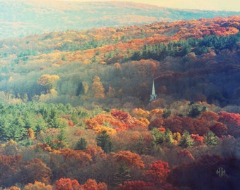 """Landscape Photography, Autumn, Church Steeple, Red, Green, Gold, Orange, Rustic, Woodland, New England, 8x10. """"Steeple of the Trees""""."""