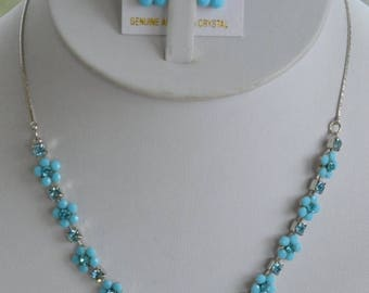 On sale Delicate Vintage Turquoise Blue, Austrian Crystal Floral Necklace Set, Pierced Earrings, Silver tone (AO2)